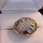 Panetta Sterling Vermeil Rhinestone Starburst Ring