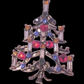Rhinestone Christmas Tree Pin