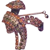 Asian Rhinestone Figural Pin