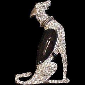 Art Deco Borzoi Dog Rhinestone and Enamel Pin