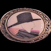 Glass Portrait Pin