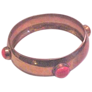 Brass and Coral Bangle Bracelet