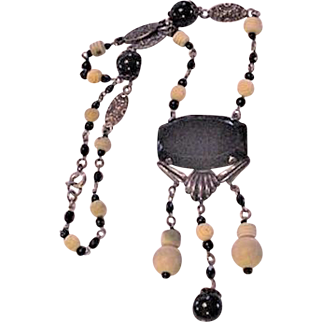 Art Deco Glass and Galalith Necklace