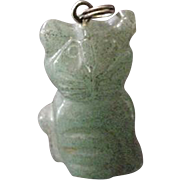 Carved Jade Cat Pendant