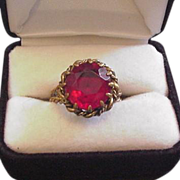 Vintage Red Rhinestone Cocktail Ring