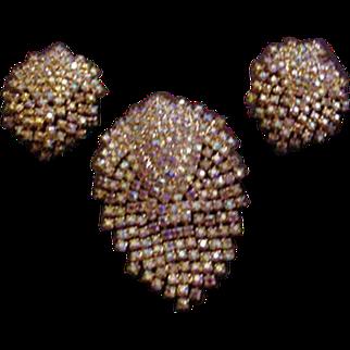Flashy Aurora Borealis Rhinestone Pin and Earrings