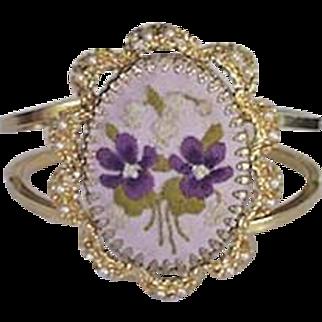 Large Embroidery Violets Bracelet