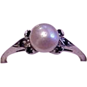 Cultured Pearl and Blue Sapphire Ring