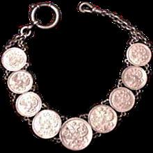 Antique Edwardian Watch Chain Russian Kopeks