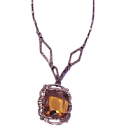 Citrine Rhinestone Necklace
