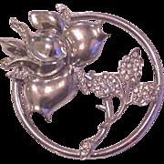 Sterling Silver Rhinestone Rose Pin