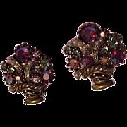 Rhinestone Basket Earrings by ART