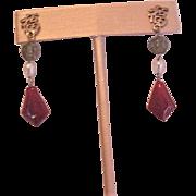 Sterling Silver Carnelian Jade Earrings