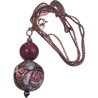 Chinese Enamel Carnelian Sterling Silver Necklace