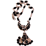 Black and White Hand Beaded Necklace