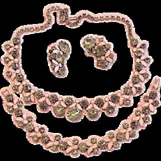 Peridot Rhinestone Enamel Necklace Bracelet Earrings