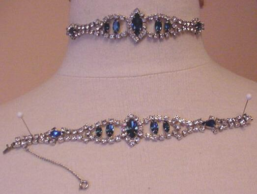 Fantastic Rhinestone Dog Collar Necklace and Bracelet