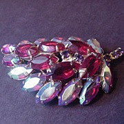 Ruby Red and Aurora Borealis Rhinestone Vintage Pin