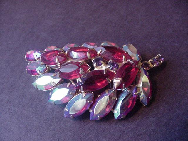 Ruby Red and Aurora Borealis Rhinestone Vintage Pin