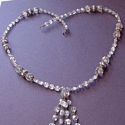 Vintage Crystal, Rhinestone and Brass Necklace with Drops