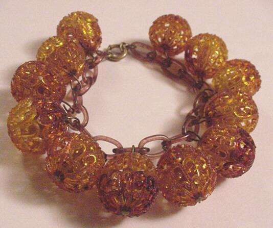 Vintage Costume Jewelry Celluloid Dangle Bracelet