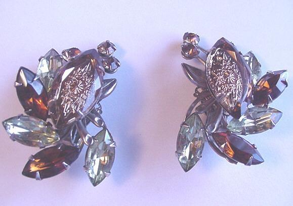 Vintage Judy Lee Reverse Carved Glass Rhinestone Earrings