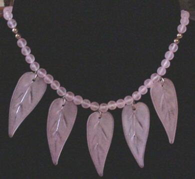 Carved Pink Lucite Leaf Drops Necklace