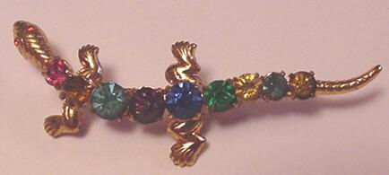 Vintage Czech Brass and Glass Rhinestone Lizard Pin