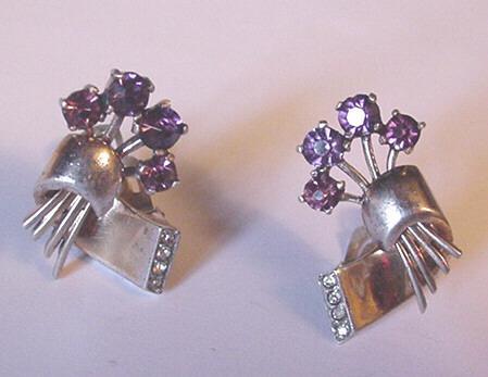 Vintage Eisenberg Sterling and Rhinestone Earrings