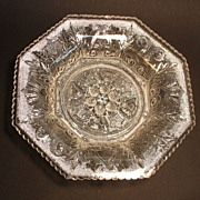 Sandwich Lacy Flint Beehive and Thistle Octagonal Dish