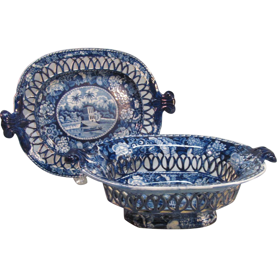 Deep Blue Staffordshire Basket on Stand ca. 1825