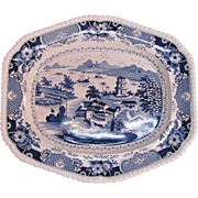 "Large Blue and White Staffordshire Platter ""India Temple"""