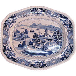 """Large Blue and White Staffordshire Platter """"India Temple"""""""
