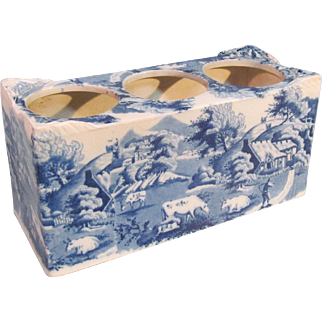 Staffordshire Blue and White Flower Brick or Bough Pot