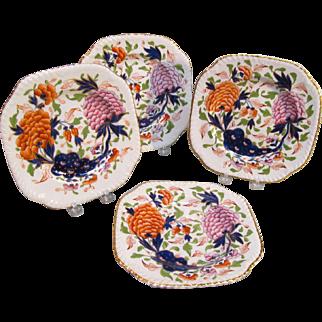 "Four Square English Porcelain ""Japan""  Cake Plates ca. 1835"
