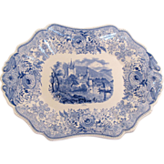 Blue and White Transfer Ware Tray with Swiss Scene ca 1835-40
