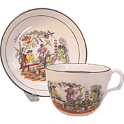 Chinoiserie Decor English Cup/Saucer ca. 1815