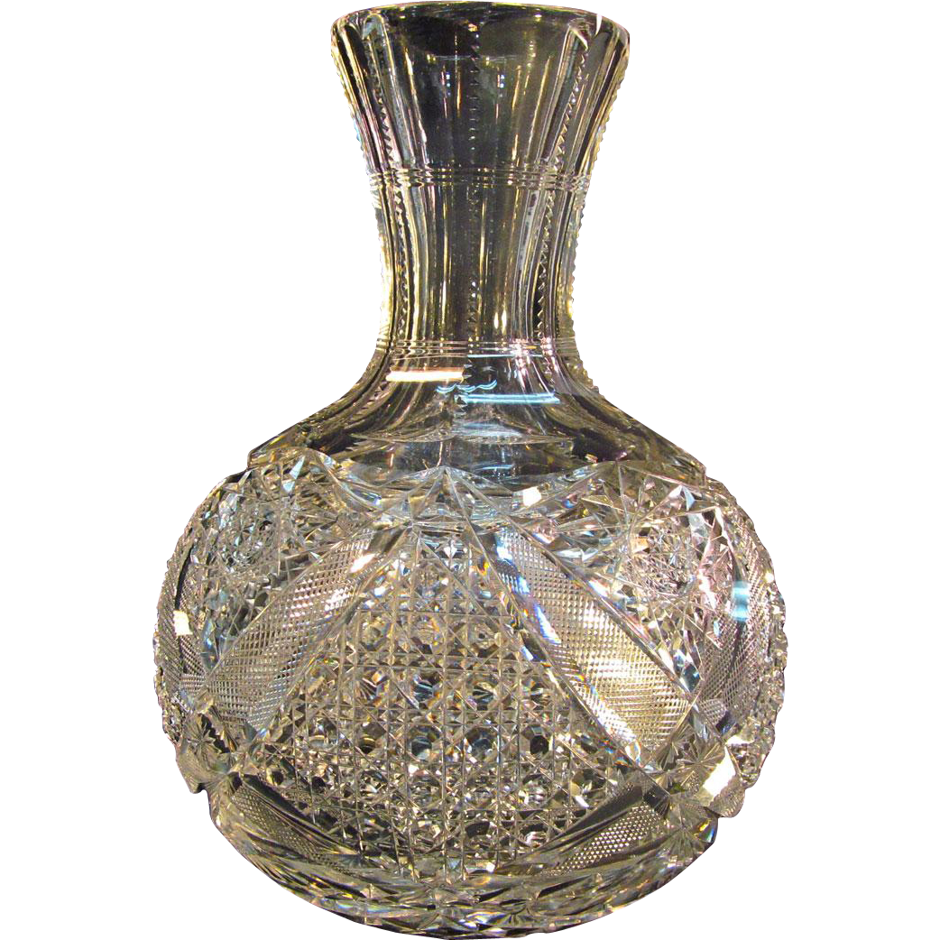 Cut glass carafe ca 1900 from forthillstudios on ruby lane for How to cut the bottom of a glass bottle