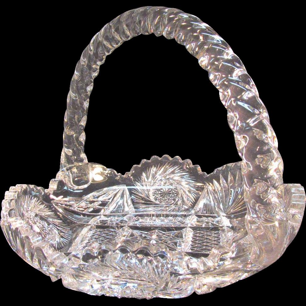 Large Cut Glass Basket Form Dish ca. 1900