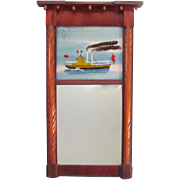 Mirror with Reverse Glass Painting of Steam Boat ca. 1865-75