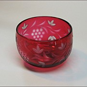 Antique Cranberry Glass Fingerbowl