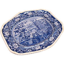 "Ridgway Blue and White ""Asiatic Palaces"" Platter ca. 1835"
