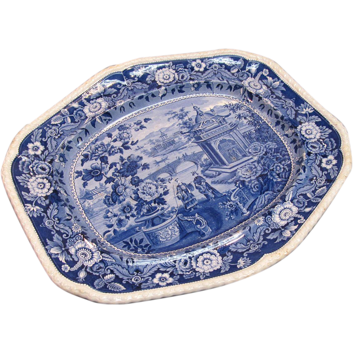 """Ridgway Blue and White """"Asiatic Palaces"""" Platter ca. 1835"""
