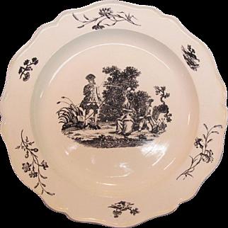 Creamware Black Printed Plate ca. 1795