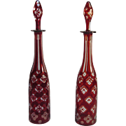 Pair Victorian Ruby Flash Decanters