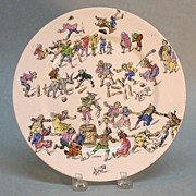 Longwy Pottery Plate with Scenes of Bowling and Dancing circa 1885