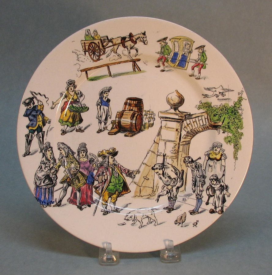 Longwy Pottery Plate with Scenes of Village Life circa 1885