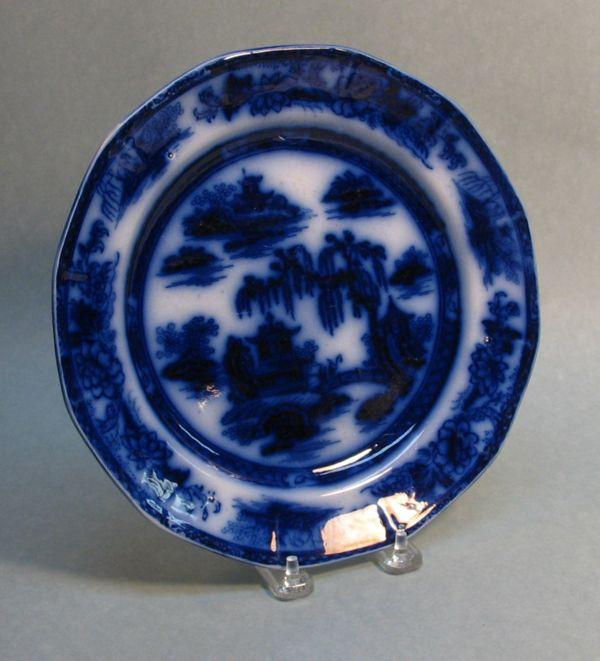 Manilla Flow Blue Ironstone Plate ca. 1850