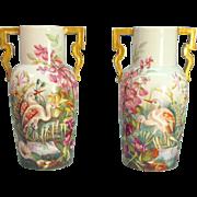 """Pair Nineteenth Century """"Paris Porcelain"""" Vases/Lamp Bases"""