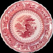 "Staffordshire Red Transferware ""Canova"" Plate ca. 1835"